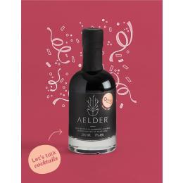 Aelder Elixir bottle with text Let's talk cocktails