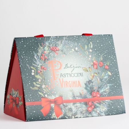 140g Amaretti Virginia Assorted Biscuits in Christmas Blue & Red Gift Bag