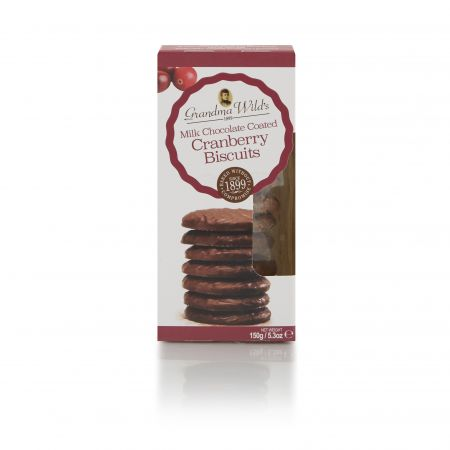 150g Grandma Wilds Milk Chocolate Coated Cranberry Biscuits