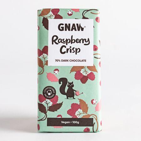 Gnaw Raspberry Crisp Dark Chocolate Bar 100g