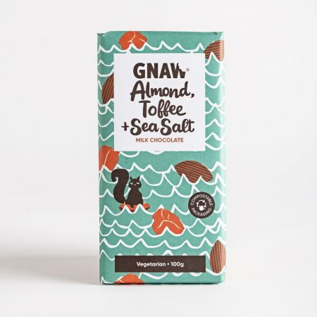 Gnaw Almond, Toffee & Sea Salt Chocolate Bar, 100g
