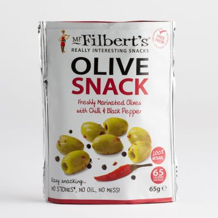 65g Filberts Green Olives with Chilli and Black Pepper