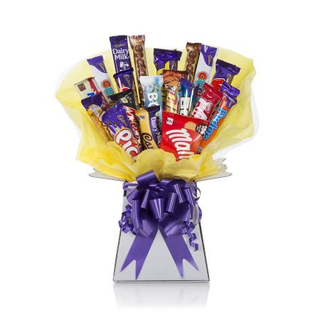 Chocolate Bouquet - Chocolate Bar & Sweets delicately hand tied in a bouquet with cellophane wrapping, similar to a flower bouquet.