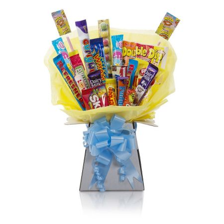 Sweet Bouquet - Sweets, Candy and Chocolates delicately hand tied in a bouquet with cellophane wrapping, similar to a flower bouquet.