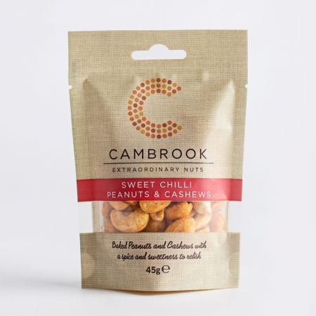 Cambrook Baked Sweet Chilli Peanuts & Cashews, 45g