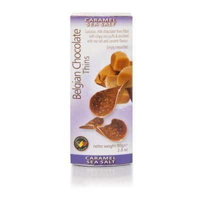 Belgian Chocolate Caramel Sea Salt Thins 80g