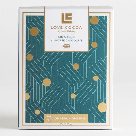 75g Love Cocoa Dark Gin Chocolate Bar