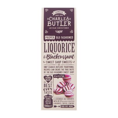 190g Charles Butler Liq & Blackcurrant Sweets