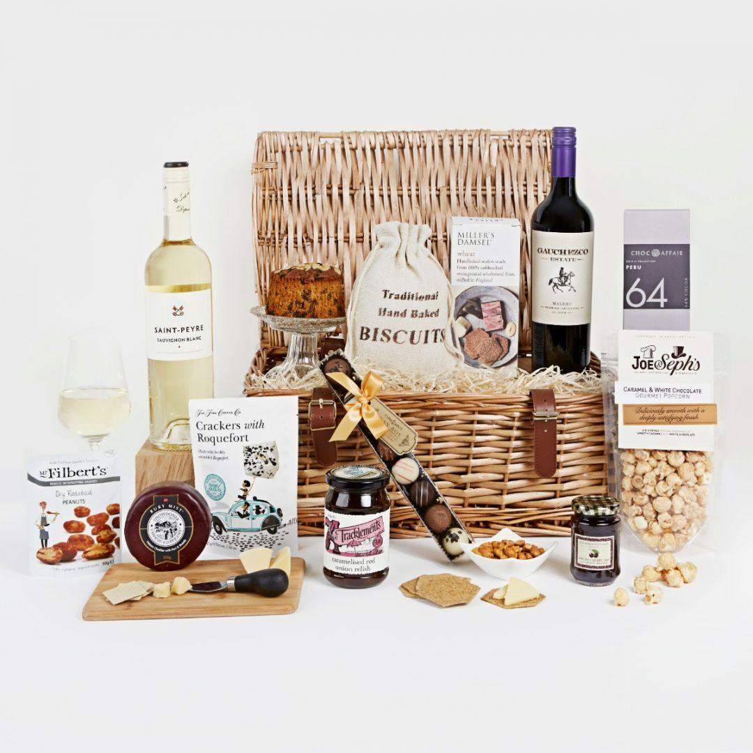 Premium food and wine hamper with wicker basket
