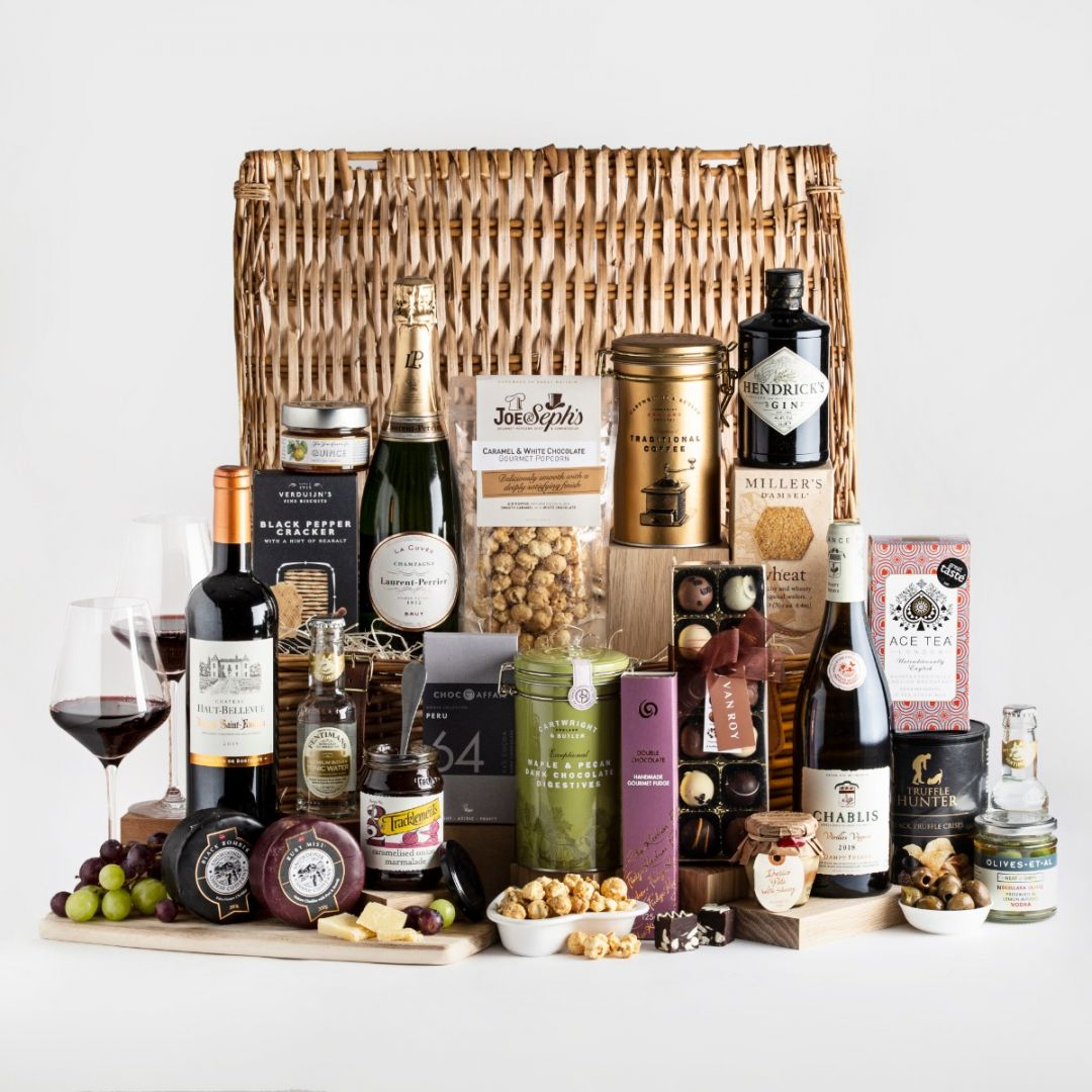 Grand Hamper with all of its content and a wicker basket