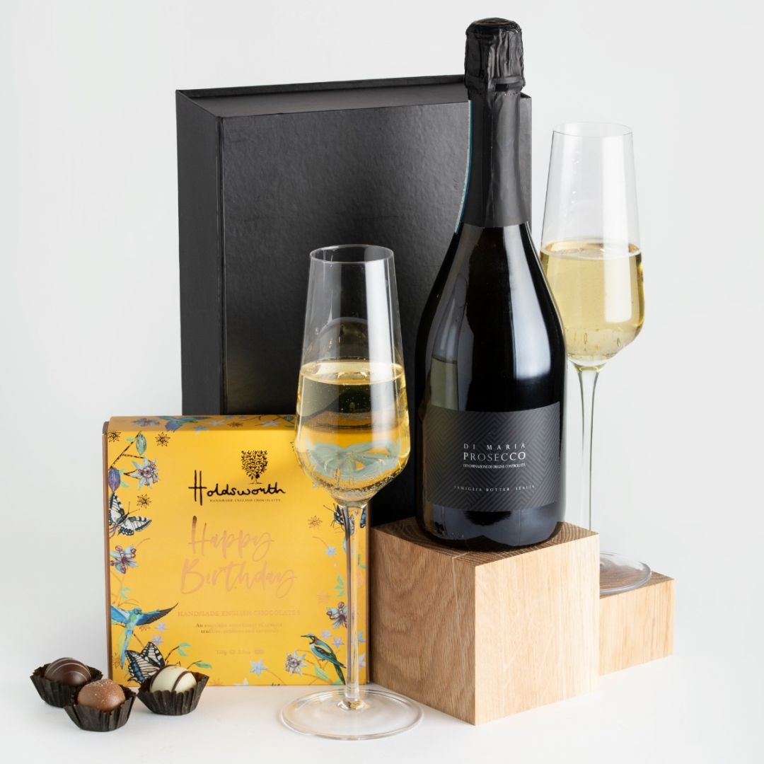 Prosecco and Happy Birthday Chocolates with black gift box