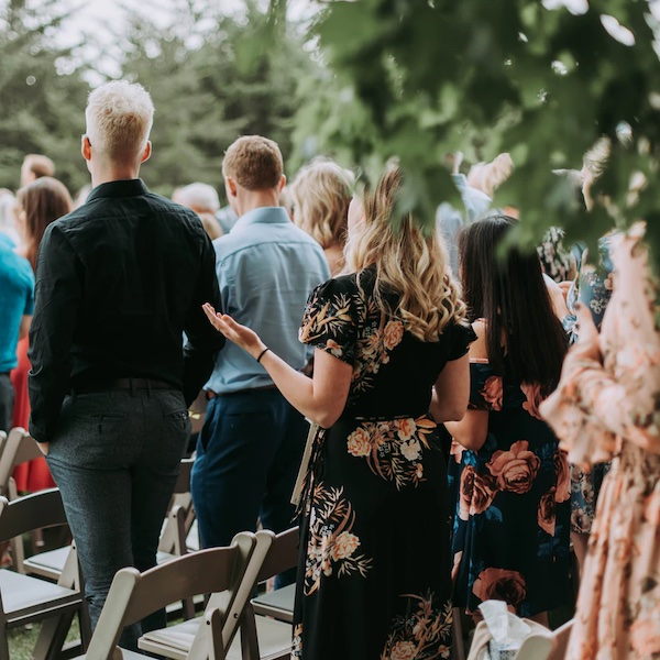 image of wedding guests behaving at ceremony